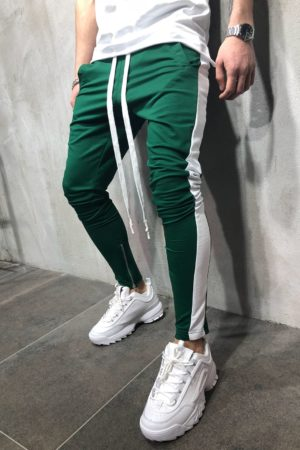 Jogging zipped green white