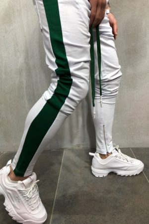 Jogging zipped white green