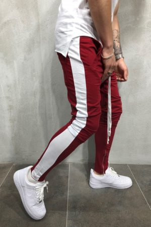 Jogging zipped bordeaux white