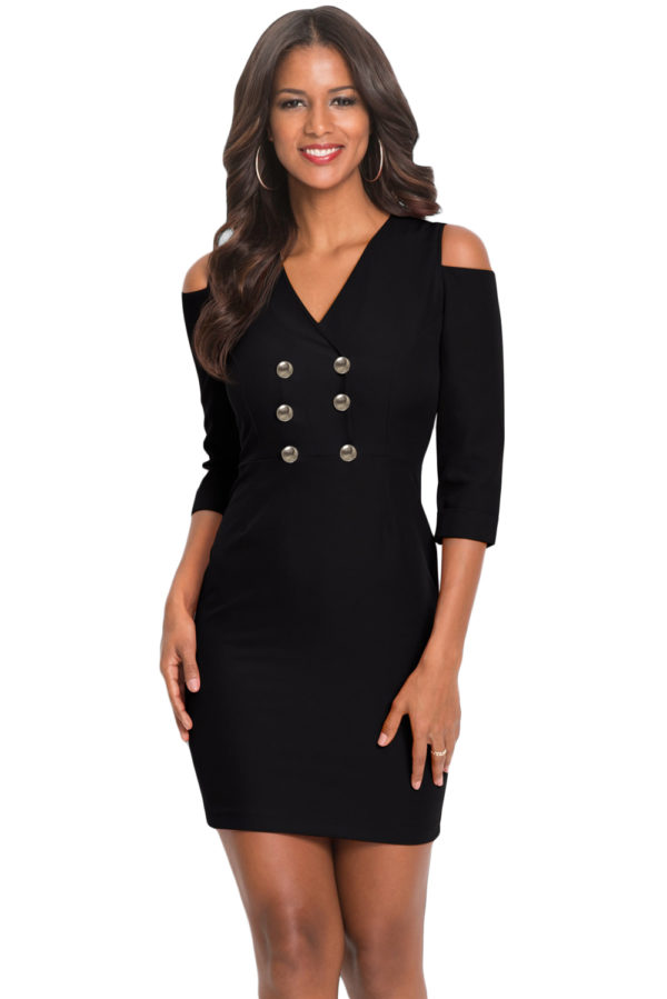 Cold shoulder sleeved bodycon mini dress