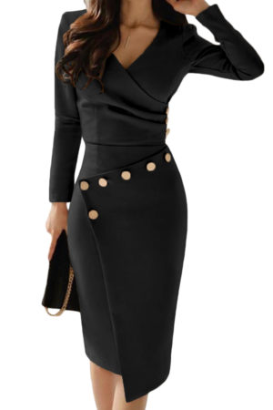 Asymmetric button midi dress