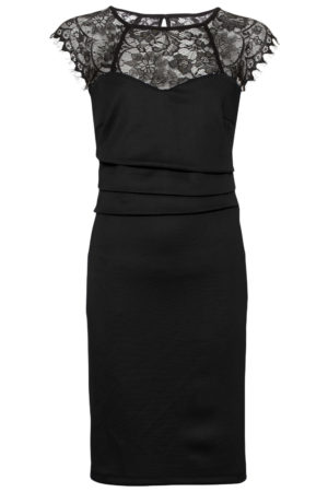 Sheer lace yoke sleeveless bodycon dress