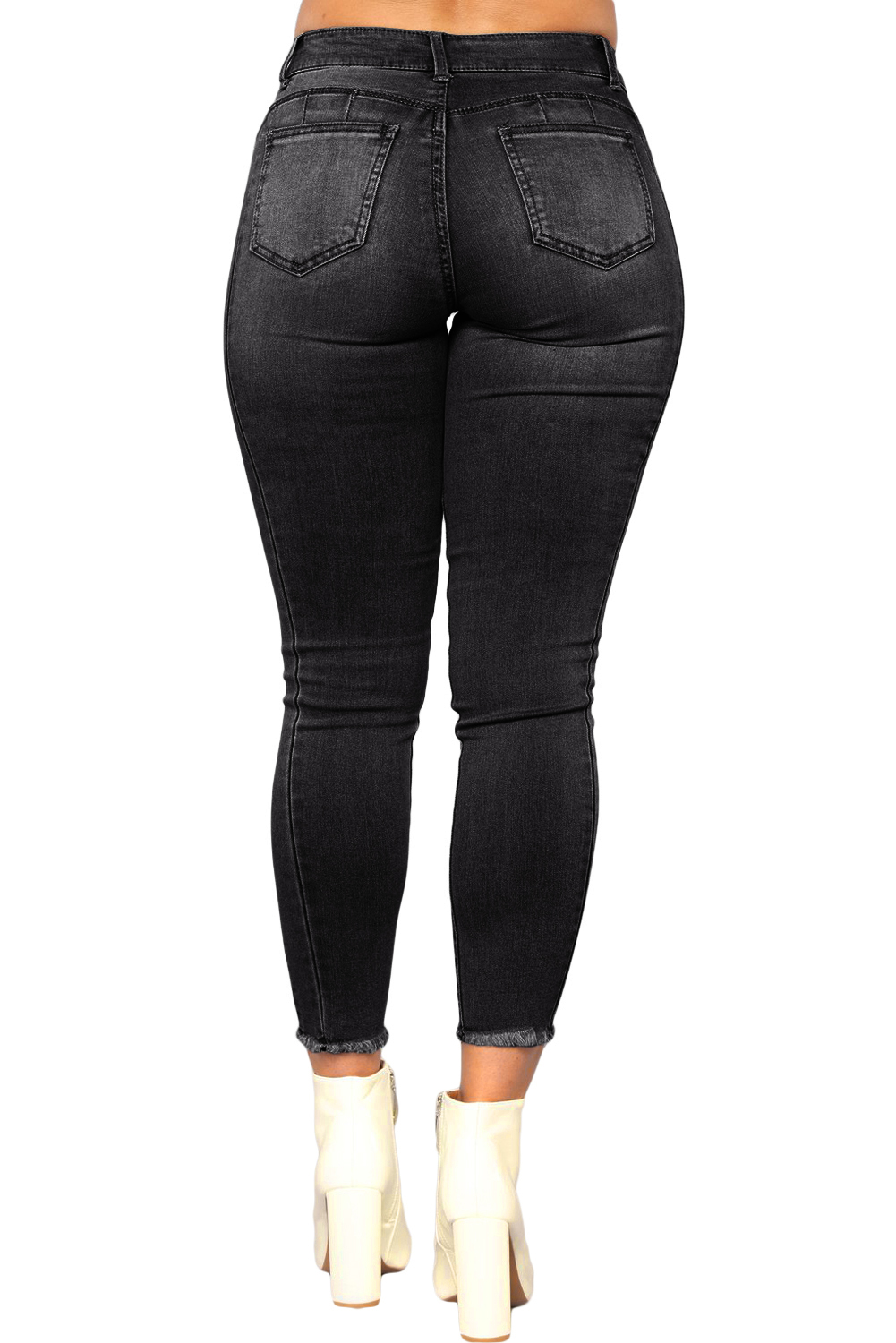 Blackwash triple seam cropped jeans