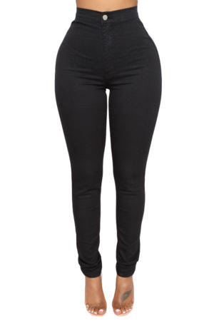 High waist skinny jeans with round pockets