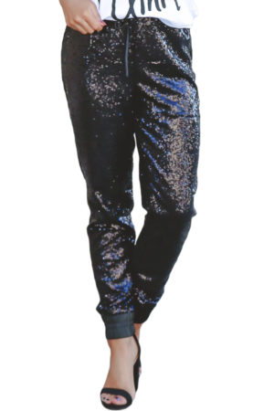 Sequin drawstring strech pants