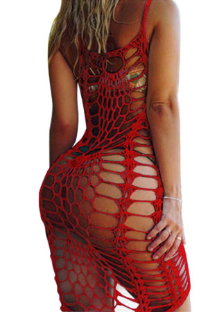 Sleeveless summer beach fishnet dress to cover up bikini
