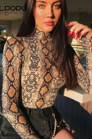 Snakeskin turtleneck longsleeve bodycon bodysuit