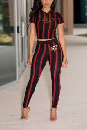 Two piece high waist set striped