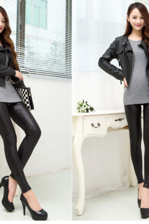 Faux stretchy leather legging
