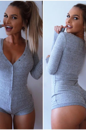 Cotton bodycon longsleeve bodysuit V-neck