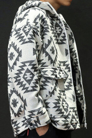 Printed wool hoodie with zipper