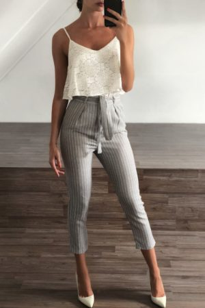 Clazzy grey white stripe pants